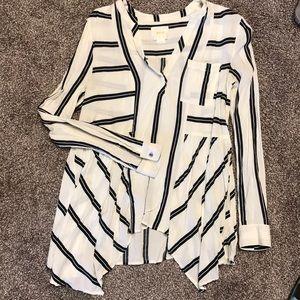 Striped asymmetric hem Anthropologie blouse